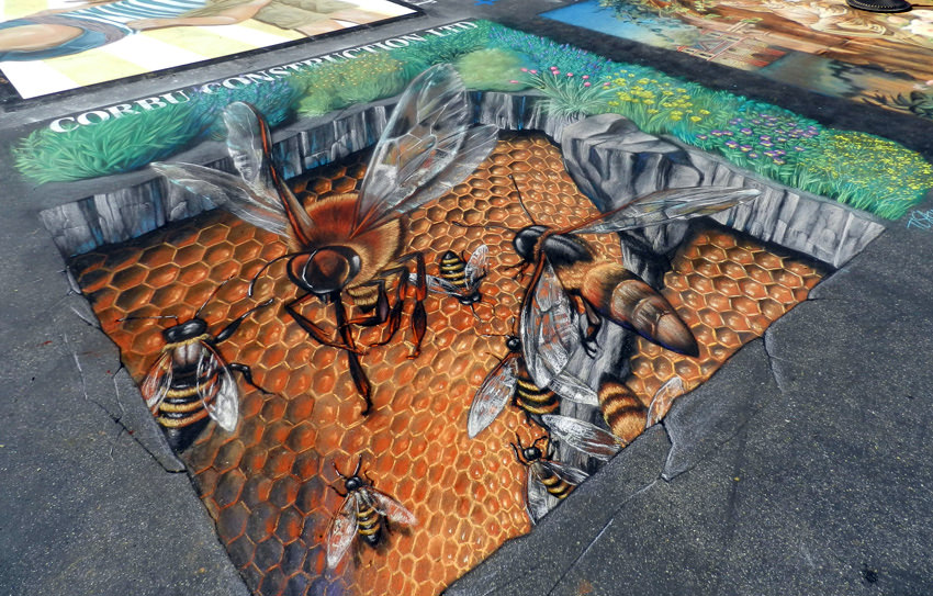 Honey Bees, 3d Street painting by Tracy Lee Stum