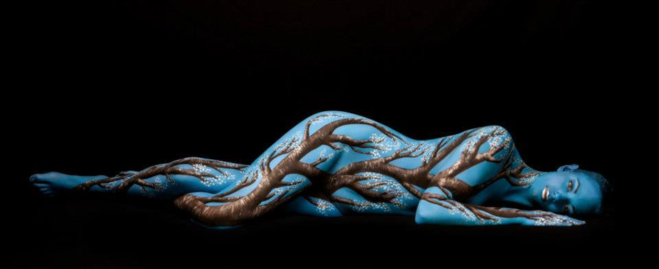 White Apple Blossom, Body Painting by Trina Merry
