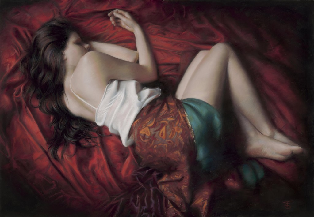Sleep in Red, Painting by Tina Spratt