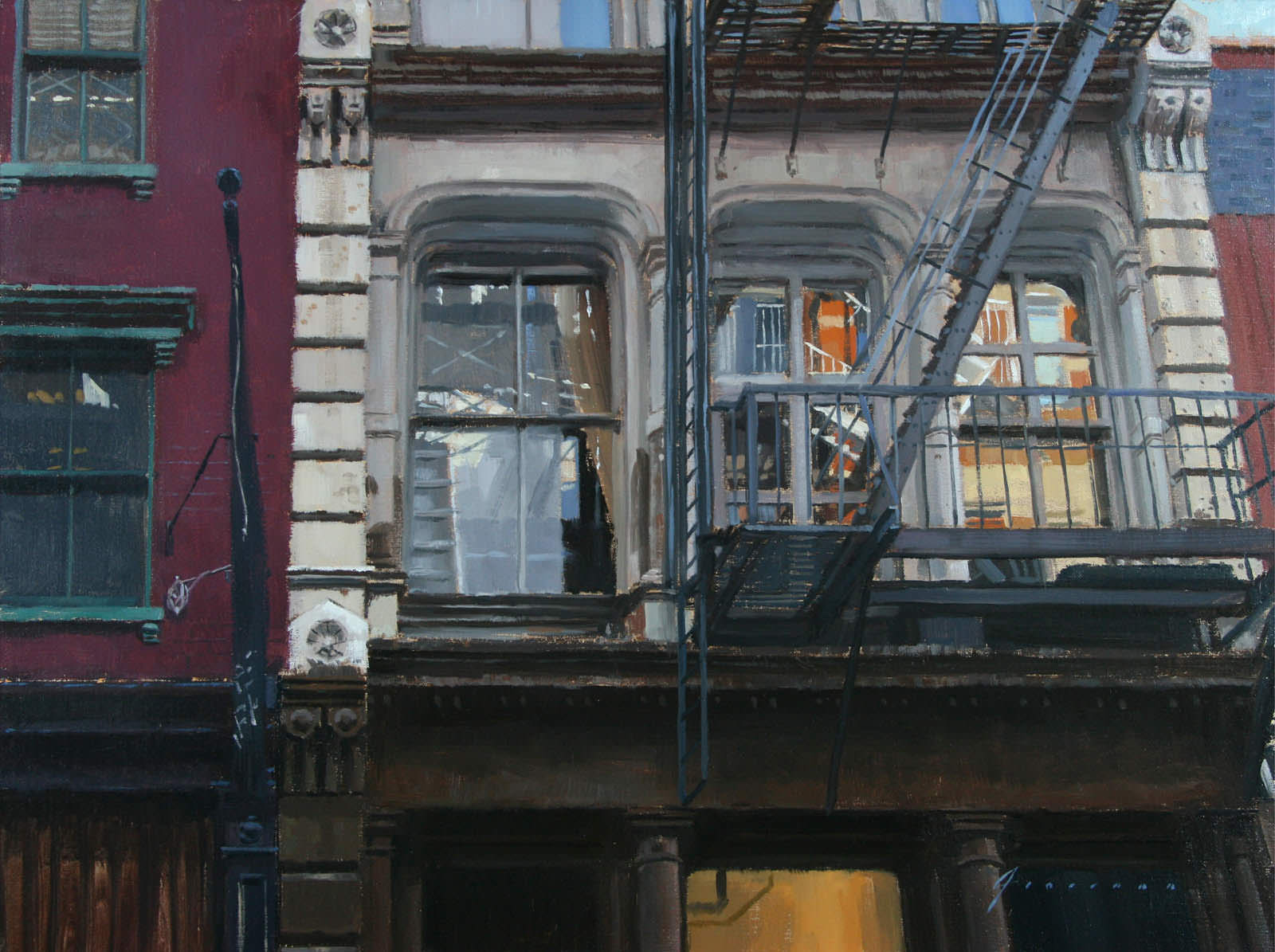 Iron Façade – Soho, Painting by Vincent Giarrano