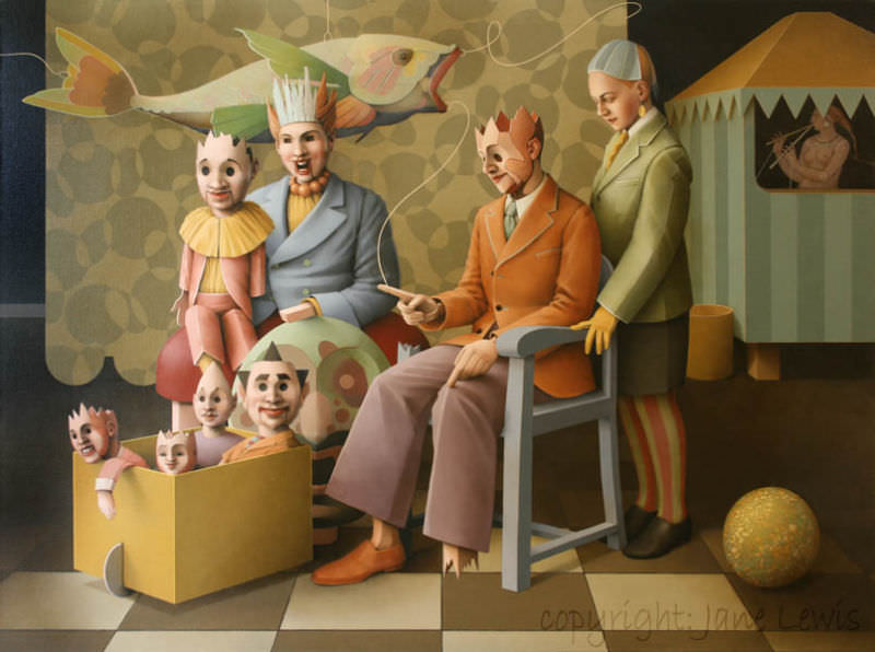 Marionettes, Painting by Jane Lewis
