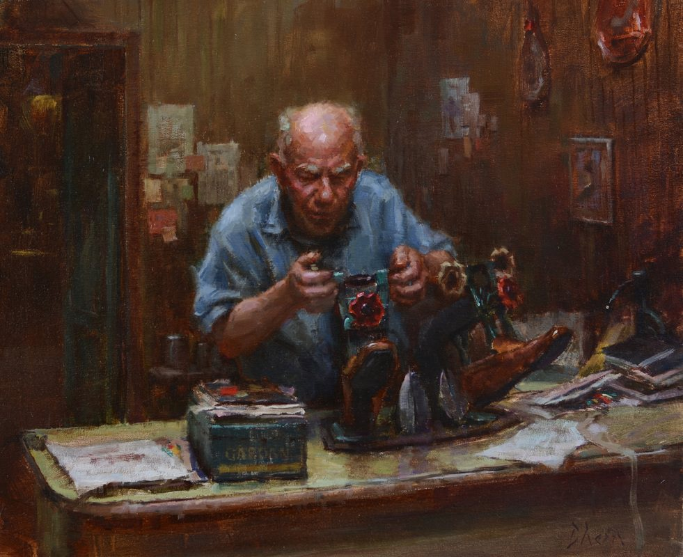 The Shoe Cobbler, Painting by Jacob Dhein