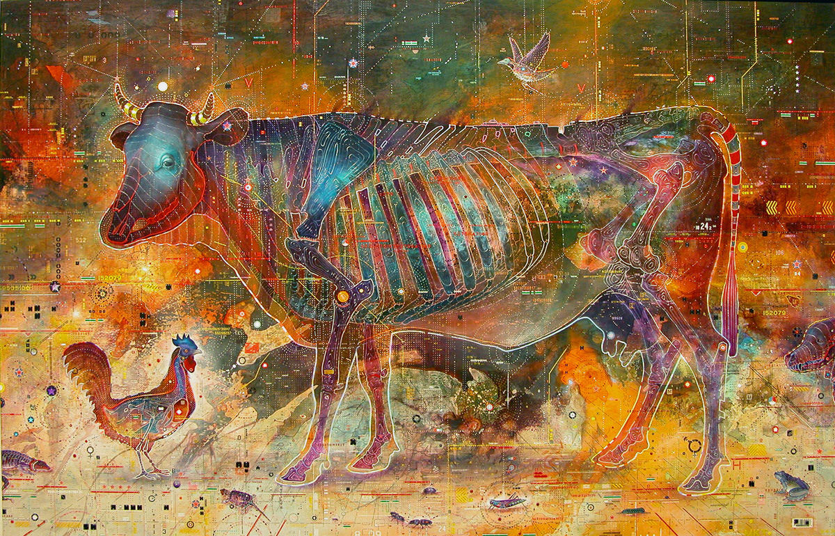 Psychotropic Comparative Anatomy, Painting by Kris Kuksi