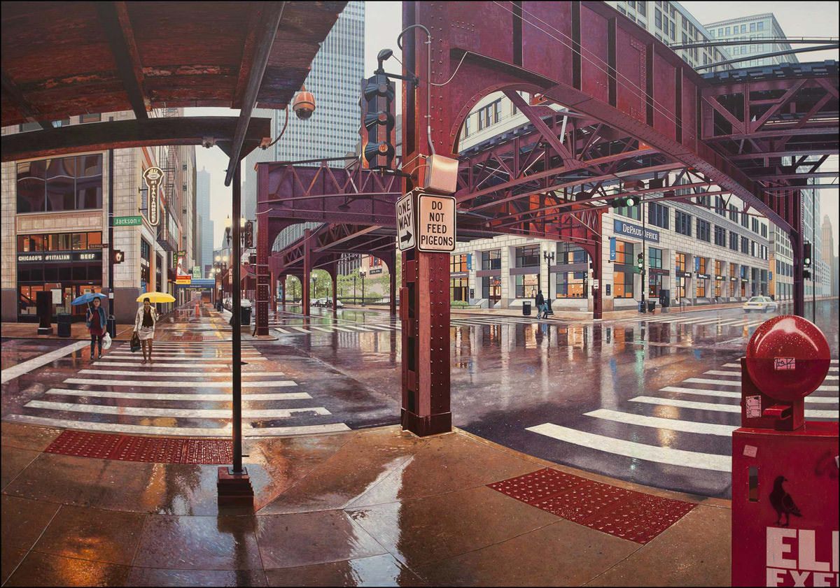 Chicago in the Rain, Painting by Nathan Walsh