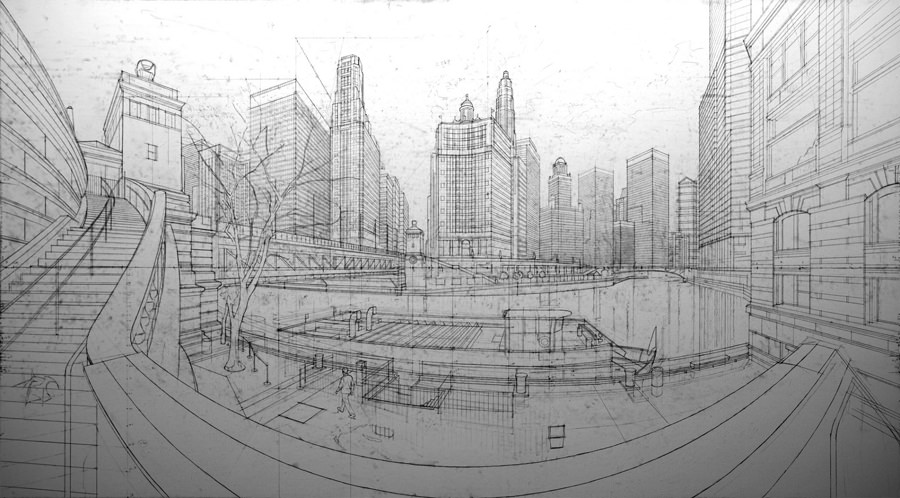 Sketch of Chicago 7 am by Nathan Walsh