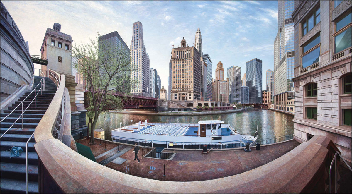 Chicago 7 am, Painting by Nathan Walsh