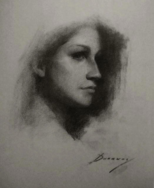 Study of Holly in Charcoal by Michelle Dunaway
