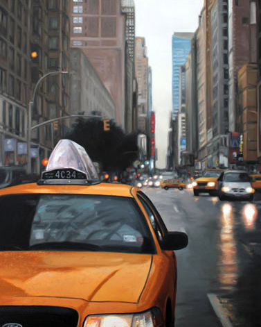 NY Taxi, Painting by Joe Simpson