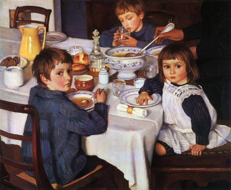 At Breakfast by Zinaida Serebriakova
